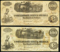 Confederate Notes:1862 Issues, T40 $100 1862 PF-1 Cr. 300 Fine;. T40 $100 1862 PF-2 Cr. 307 Fine.. ... (Total: 2 notes)