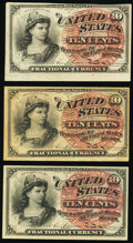 Fr. 1257 10¢ Fourth Issue Three Examples. Very Fine or Better