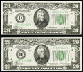 Small Size:Federal Reserve Notes, Fr. 2056-D $20 1934B Federal Reserve Notes. Two Consecutive Examples. Crisp Uncirculated.. ... (Total: 2 notes)