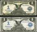 Large Size:Silver Certificates, Fr. 232 $1 1899 Silver Certificates Two Examples Fine.. ... (Total: 2 notes)