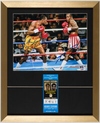 Sugar Ray Leonard & Thomas Hearns Dual-Signed Photograph Display With First Bout Ticket