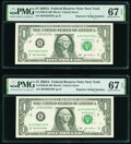 Small Size:Federal Reserve Notes, Repeater Serial Numbers 07950795 and 07990799 Fr. 1930-B $1 2003A Federal Reserve Notes. PMG Superb Gem Unc 67 EPQ.. ... (Total: 2 notes)