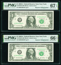 Small Size:Federal Reserve Notes, Repeater Serial Numbers 09440944 and 09450945 Fr. 1930-B $1 2003A Federal Reserve Notes. PMG Graded Superb Gem Unc 67 EPQ; Gem... (Total: 2 notes)