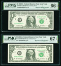 Small Size:Federal Reserve Notes, Repeater Serial Numbers 09480948 and 09490949 Fr. 1930-B $1 2003A Federal Reserve Notes. PMG Graded Gem Uncirculated 66 EPQ; S... (Total: 2 notes)