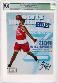 2018 Zion Williamson Signed Sports Illustrated for Kids, CGC 9.0