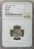 INCO 10 cent. MS65 NGC. 1964 RDM-1 portrait. RB-2000. 2.01 g. 95% nickel, 5% silicon on a permalloy core Coins delivered...