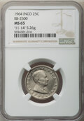"""INCO 25 cent. MS65 NGC. 1964 RDM-1 portrait. RB-2500. """"11-14"""" engraved in obverse field. 5.26 g. 95% nickel, 5..."""
