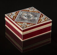 A 14K Vari-Color Gold, Guilloche Enamel, and Diamond-Mounted Box in the Manner of Fabergé, late 20th century 1-1/...