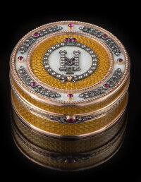 A 14K Gold, Guilloche Enamel, and Diamond-Mounted Box in the Manner of Fabergé, late 20th century 1-1/4 x 2-7/8 i...