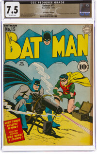 Batman #15 The Promise Collection Pedigree (DC, 1943) CGC VF- 7.5 Off-white pages