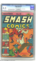Golden Age (1938-1955):Superhero, Smash Comics #16 (Quality, 1940) CGC VG+ 4.5 Cream to off-whitepages. The Scarlet Seal series begins in this issue, which a...