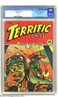 Terrific Comics #4 Mile High pedigree (Continental Magazines, 1944) CGC VF+ 8.5 White pages. Overstreet and Gerber both...
