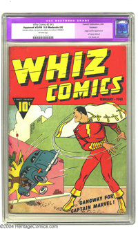 Whiz Comics #2 (#1) (Fawcett, 1940) CGC Apparent VG/FN 5.0 Moderate (A) Off-white pages. Gangway for Captain Marvel! Wit...
