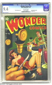 Wonder Comics #15 (Better Publications, 1947) CGC NM 9.4 Off-white pages. The wonderful bondage cover by Alex Schomburg...