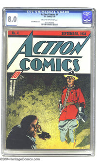 Action Comics #4 (DC, 1938) CGC VF 8.0 Cream to off-white pages. Before Superman took over the covers of this title comp...