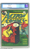 Golden Age (1938-1955):Superhero, Action Comics #47 (DC, 1942) CGC FN+ 6.5 Cream to off-white pages. Lex Luthor, Superman's baneful bald baddie, makes his fir...