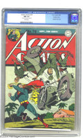 Golden Age (1938-1955):Superhero, Action Comics #76 Double Cover (DC, 1944) CGC NM 9.4 White pages. As this patriotic cover shows, even a man from Krypton doe...