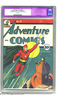 Adventure Comics #61 Mile High pedigree (DC, 1941) CGC Apparent NM 9.4 Slight (P) White pages. Starman makes his first a...