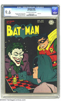 Golden Age (1938-1955):Superhero, Batman #23 (DC, 1944) CGC NM+ 9.6 Off-white pages. That grinning gangster the Joker never looked as good as he does on this ...