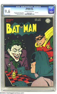 Batman #23 (DC, 1944) CGC NM+ 9.6 Off-white pages. That grinning gangster the Joker never looked as good as he does on t...