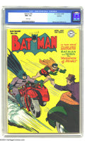 Golden Age (1938-1955):Superhero, Batman #34 Spokane pedigree (DC, 1946) CGC NM+ 9.6 White pages. Are you wearing your shades? You may want to don them, as th...