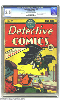 Detective Comics #27 (DC, 1939) CGC VG- 3.5 Cream to off-white pages. Iconic and awe-inspiring, this groundbreaking issu...