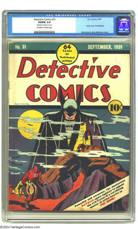 "Detective Comics #31 (DC, 1939) CGC VG/FN 5.0 Off-white to white pages. Bob Kane earns ""classic"" designation f..."