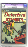 Golden Age (1938-1955):Superhero, Detective Comics #40 (DC, 1940) CGC Apparent VG 4.0 Moderate (P) Cream to off-white pages. Where would superheroes be withou...