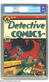 Detective Comics #45 (DC, 1940) CGC FN/VF 7.0 Cream to off-white pages. This was the Joker's first appearance in Detecti...