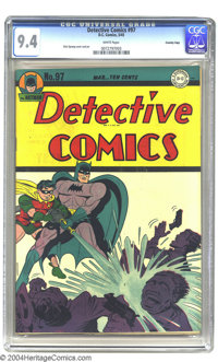 Detective Comics #97 Crowley pedigree (DC, 1945) CGC NM 9.4 White pages. Batman and Robin cool off some thugs with a fir...