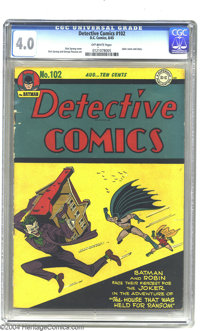 Detective Comics #102 (DC, 1945) CGC VG 4.0 Off-white pages. Dick Sprang and George Roussos art. Joker cover and story...