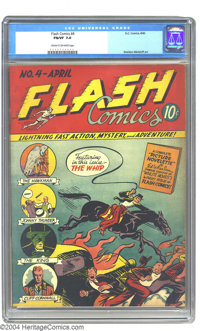 Flash Comics #4 (DC, 1940) CGC FN/VF 7.0 Cream to off-white pages. It's still the dawn of the heroic era with this choic...