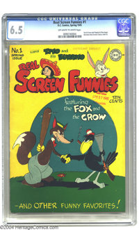 Real Screen Funnies #1 (DC, 1945) CGC FN+ 6.5 Off-white to white pages. Fox and Crow begin in this issue, as do Flippity...