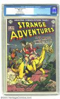 Golden Age (1938-1955):Science Fiction, Strange Adventures #12 (DC, 1951) CGC NM- 9.2 Off-white pages.Captain Comet rides off on the back of a horned dinosaur on t...