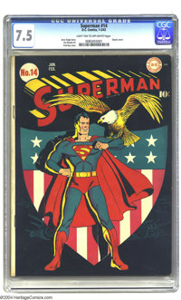 Superman #14 (DC, 1942) CGC VF- 7.5 Light tan to off-white pages. The votes are in; Fred Ray's ultra-patriotic cover is...