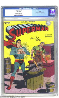 Superman #48 Toledo pedigree (DC, 1947) CGC NM 9.4 Off-white to white pages. The Man of Steel lives up to his name as a...