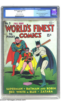World's Finest Comics #3 (DC, 1941) CGC GD/VG 3.0 Cream to off-white pages. Batman, Robin, and Superman play baseball on...