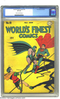 Golden Age (1938-1955):Superhero, World's Finest Comics #19 (DC, 1945) CGC VF 8.0 Cream to off-white pages. We always knew Batman and Superman were good sport...