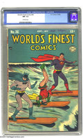 Golden Age (1938-1955):Superhero, World's Finest Comics #36 (DC, 1948) CGC NM- 9.2 Off-white pages. This charming cover has Robin in the unlikely position of ...
