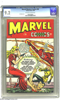 """Marvel Mystery Comics #88 (Timely, 1948) CGC NM- 9.2 Off-white to white pages. Timely spotlights its """"good girls,&q..."""