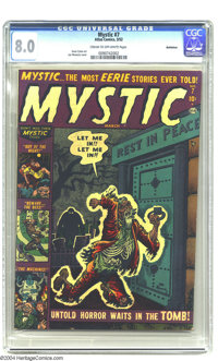 Mystic #7 Bethlehem pedigree (Atlas, 1952) CGC VF 8.0 Cream to off-white pages. Joe Maneely cover with Gene Colan interi...