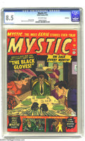 "Golden Age (1938-1955):Horror, Mystic #11 Bethlehem pedigree (Atlas, 1952) CGC VF+ 8.5 Off-whitepages. Weird ""Black Gloves"" cover. Art by Myron Fass and J..."