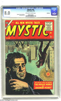 Golden Age (1938-1955):Horror, Mystic #43 Bethlehem pedigree (Atlas, 1956) CGC VF 8.0 Off-white towhite pages. Syd Shores and John Forte art. The only cop...