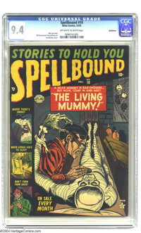 """Spellbound #10 Bethlehem pedigree (Atlas, 1952) CGC NM 9.4 Off-white to white pages. """"The Living Mummy"""" is the..."""