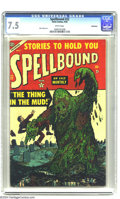 Golden Age (1938-1955):Horror, Spellbound #22 Bethlehem pedigree (Atlas, 1954) CGC VF- 7.5 Whitepages. Swamp monster cover. Mac Pakula art. There is curre...