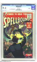 Silver Age (1956-1969):Horror, Spellbound #27 Bethlehem pedigree (Atlas, 1956) CGC NM 9.4 Whitepages. Interesting cover art, which includes some greytone ...
