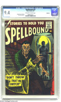 Golden Age (1938-1955):Horror, Spellbound #33 Bethlehem pedigree (Atlas, 1957) CGC NM 9.4Off-white to white pages. This is the second to last issue of ah...