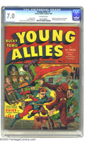 Golden Age (1938-1955):Superhero, Young Allies Comics #1 (Timely, 1941) CGC FN/VF 7.0 Off-white pages. Bucky and Toro escape the shadows of Captain America an...