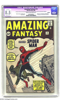 Amazing Fantasy #15 (Marvel, 1962) CGC Apparent VF+ 8.5 Moderate (P) Cream to off-white pages. This issue literally came...