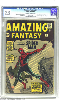 Amazing Fantasy #15 (Marvel, 1962) CGC GD+ 2.5 Off-white to white pages. We've got the origin and first appearance of Sp...